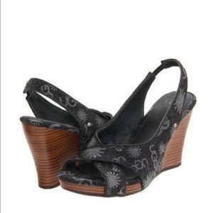 b82a7befecf UGG Hazel Denim Wedge Sandals 5.5 NWT